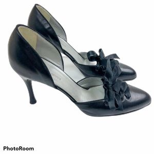 Giorgio Armani Ribbon Lace-up Black Bow Heels 37.5